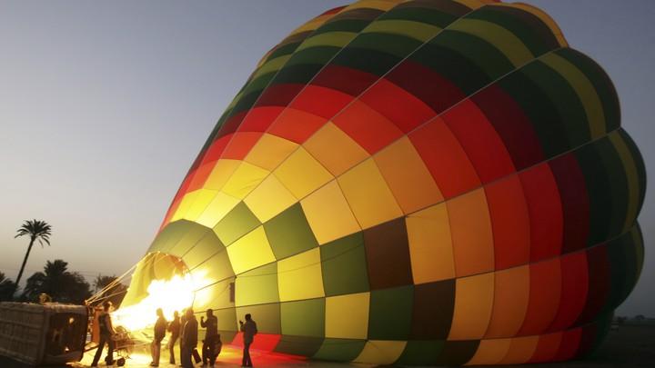 a hot-air balloon being prepared for flight